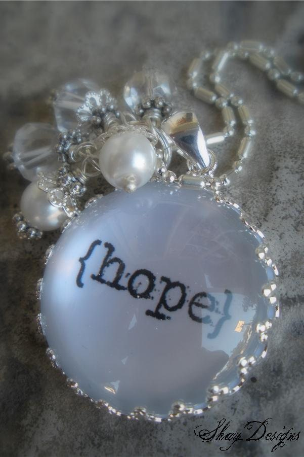 HOPE Glass Pendant Necklace with White and Crystal Beads