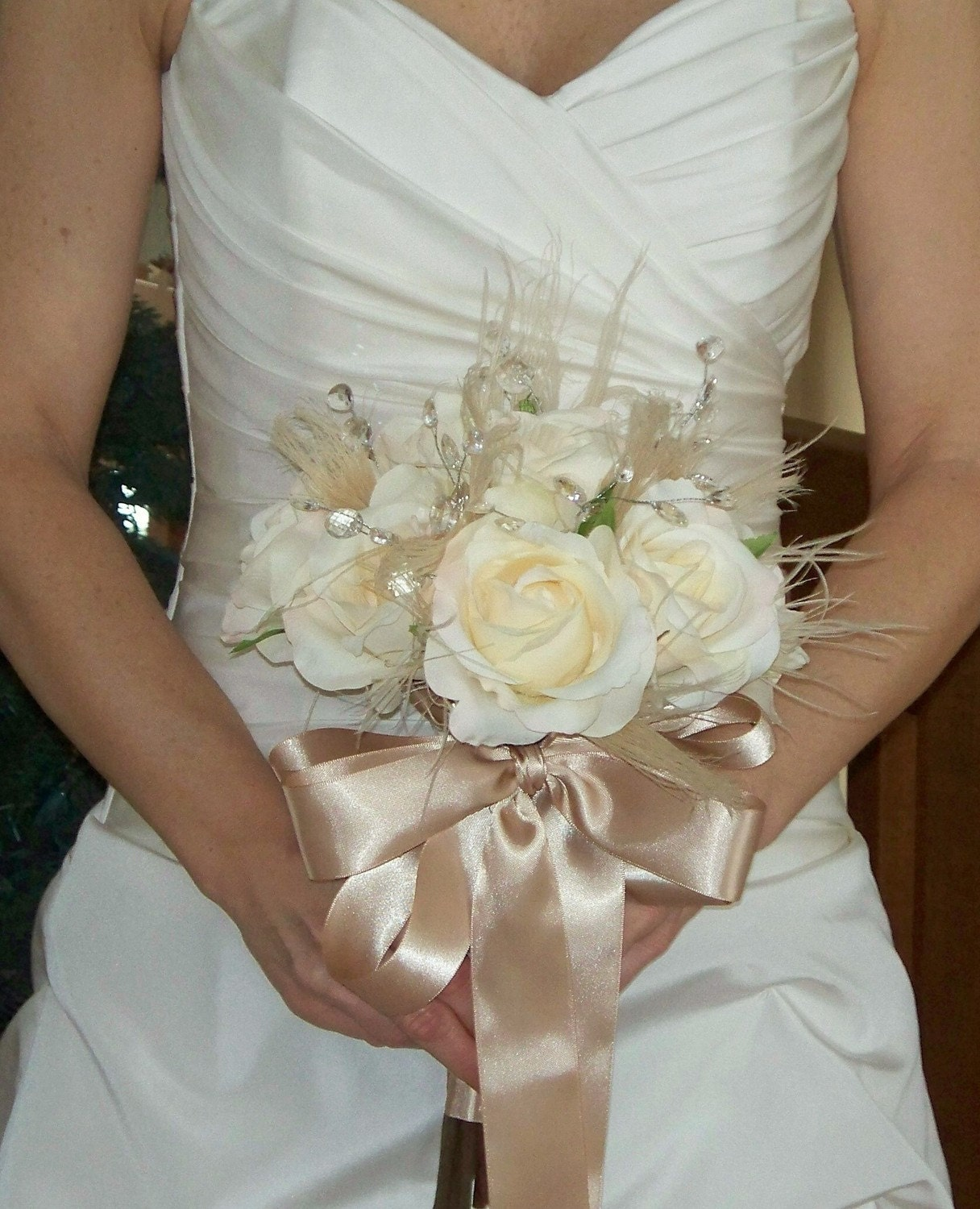 Ivory Bridal Bouquet with Roses, Champagne Peacock Feather Wisps, Sparkling Crystal Accents and FREE Boutonniere - The MANDY