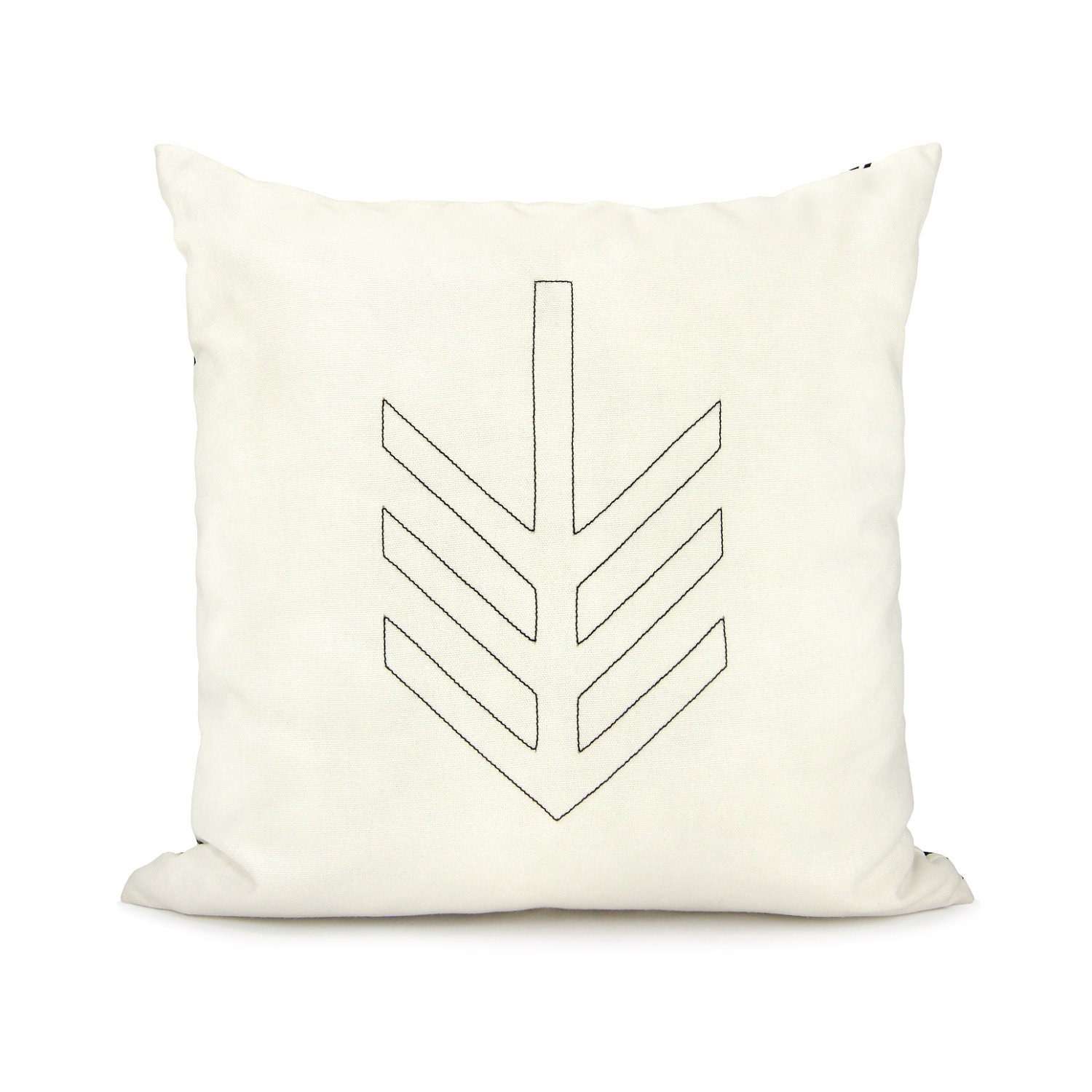 Geometric decorative pillow cover - Black arrow shape on off white canvas and geometric owl print back - 18x18 accent pillow cover