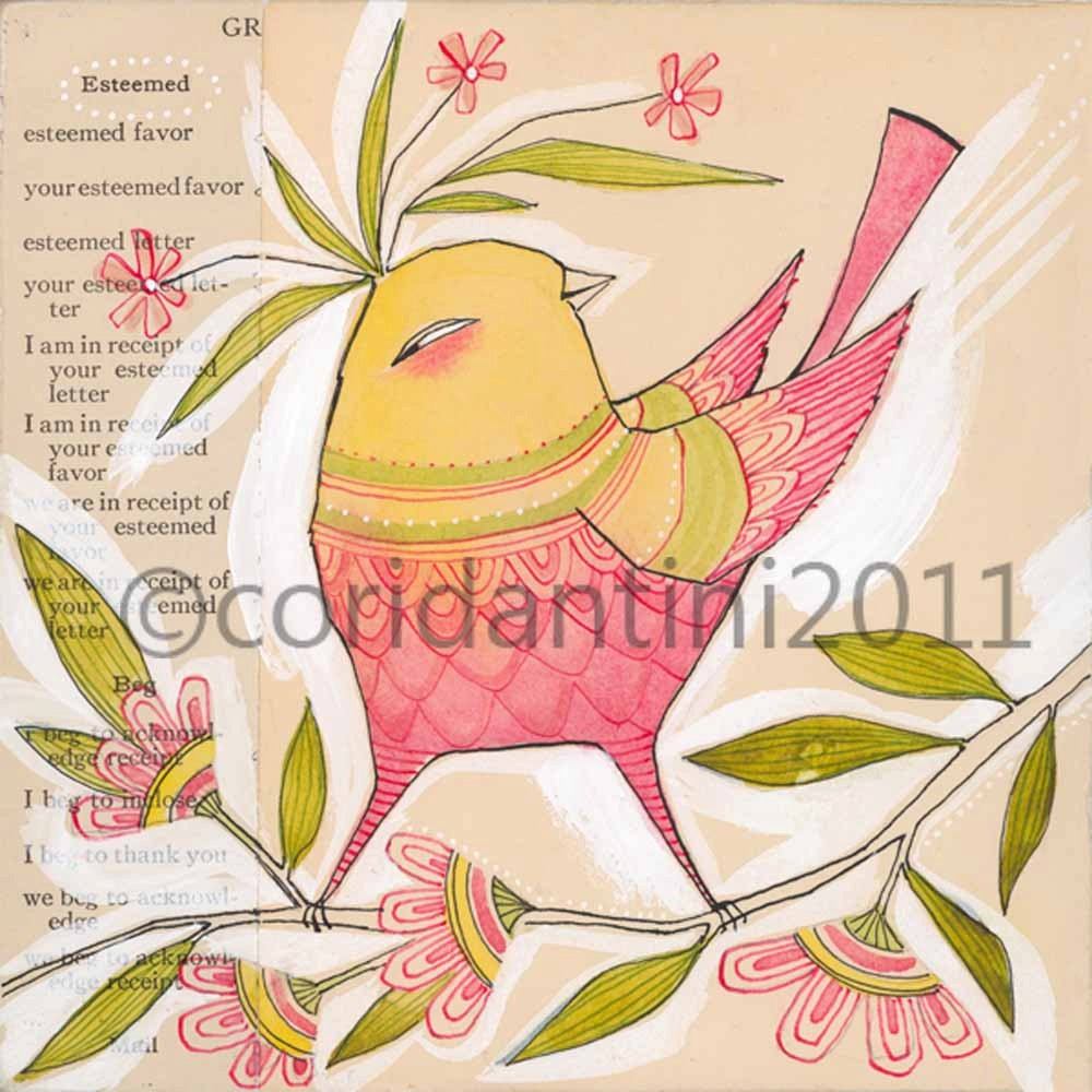 much esteemed, a 8 x 8 inch archival limited edition print of a whimsical songbird, by cori dantini