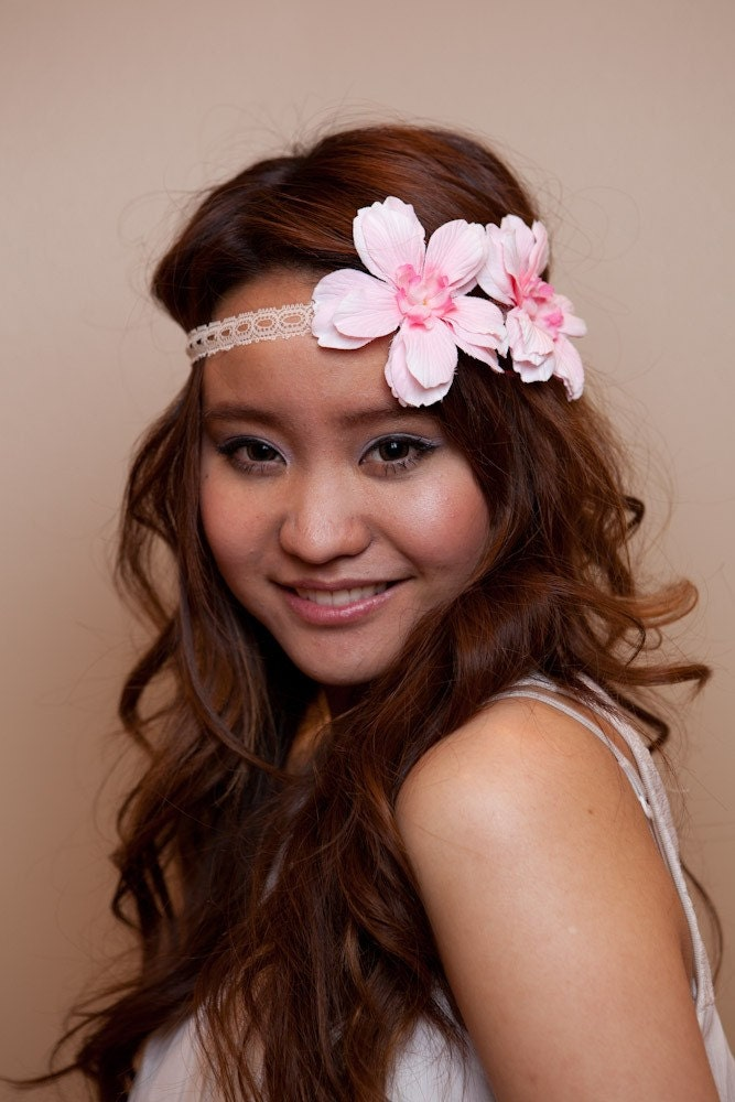 Fabric Flower and Lace Forehead Head Band