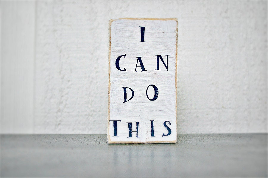 Shabby Chic - Wood Sign - Itty Bitty Word Block - I Can Do This - PamelaJoyceDesigns