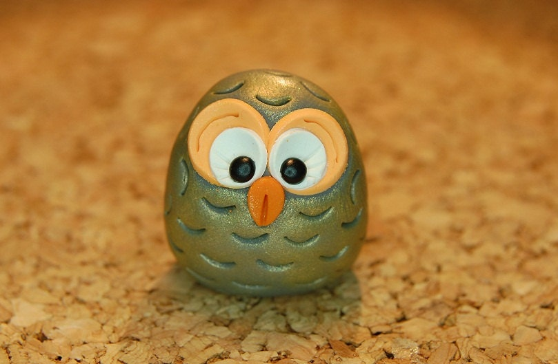 polymer clay owl- melon orange and gray - SMarrtCreations