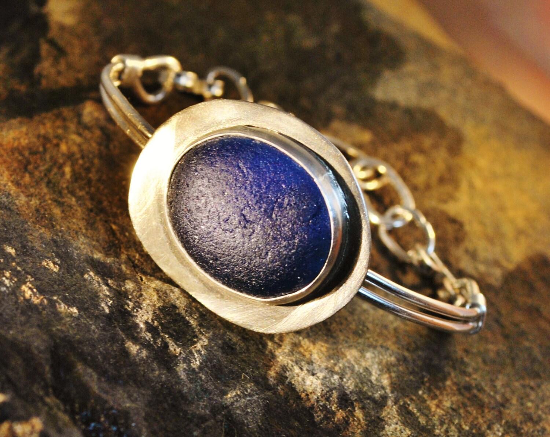 Deep Blue Beach Glass Bracelet - BeachCombersArtwork