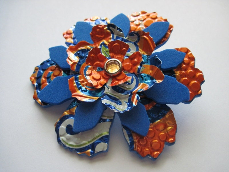 Upcycled Orange and Blue Aluminum Can Flower Pin Brooch Embossed Diecut