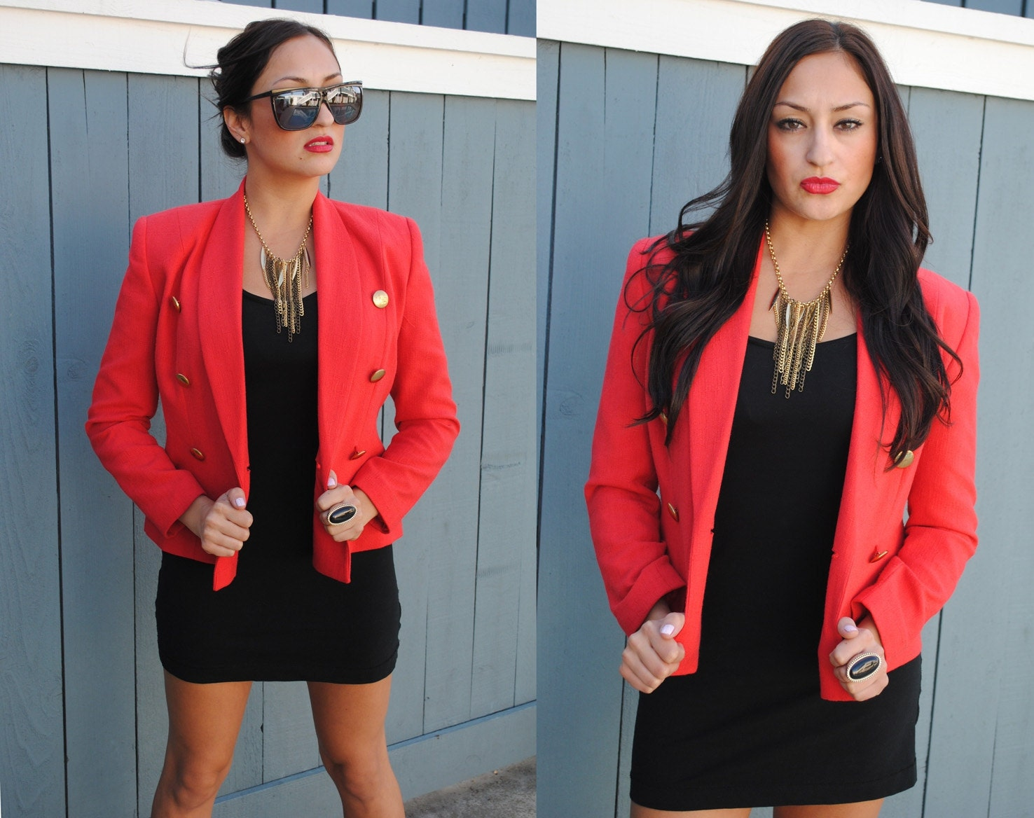 Vintage Bold Eighties-Nineties  Apple Red Blazer Jacket with Gold Button Detailing, Karen Scott