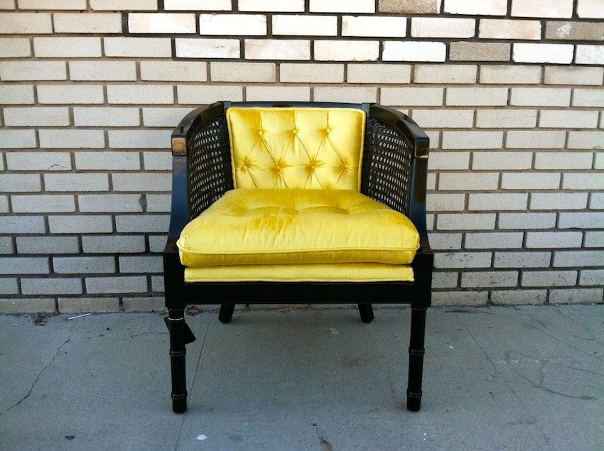 Hollywood Regency Black & Gold Cane Back Chair