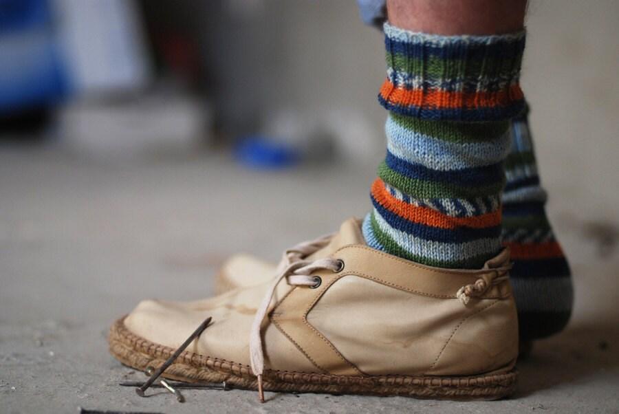 Mens blue and orange striped socks gift idea for him - Muza