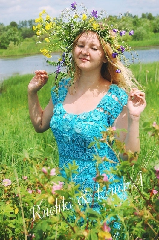 "Handmade designer crochet lace dress ""Blue turquoise butterflies' in mercerized cotton and silk chiffon"