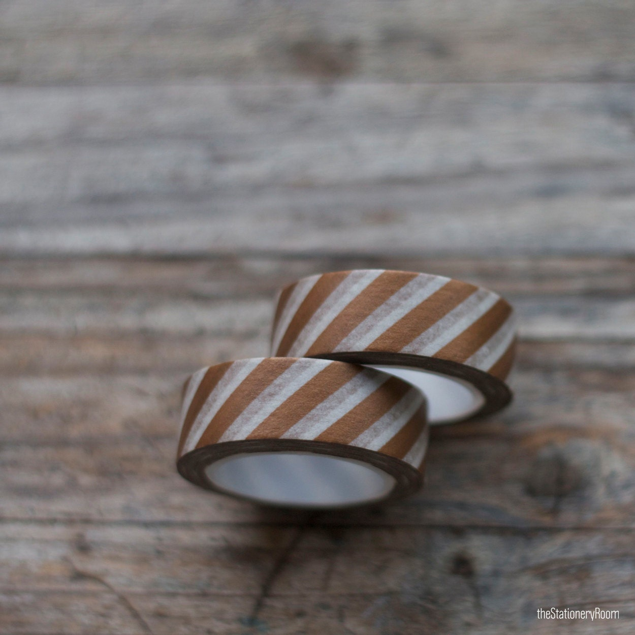Japanese Washi Tape - Masking Tape roll in Chocolate Brown and White Stripes - theStationeryRoom