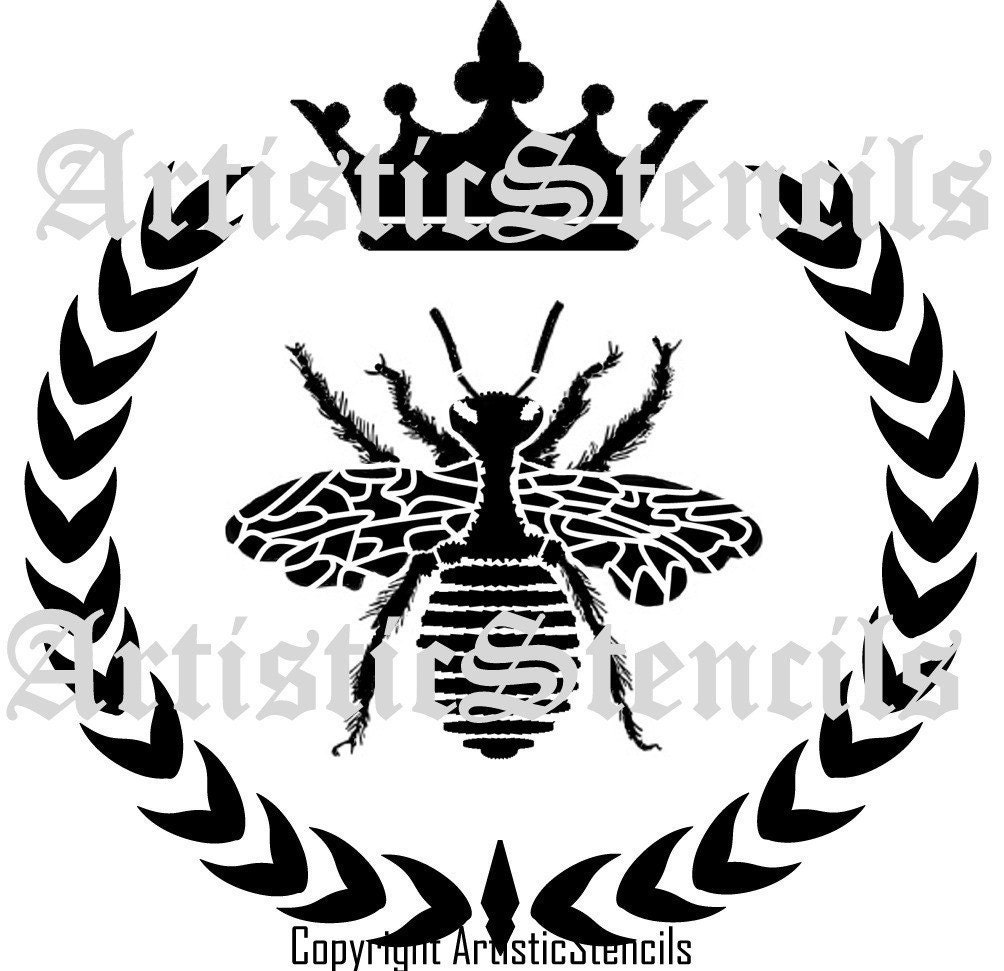 Queen Bee Wreath Crown Reusable Stencil 6x6 by ArtisticStencils
