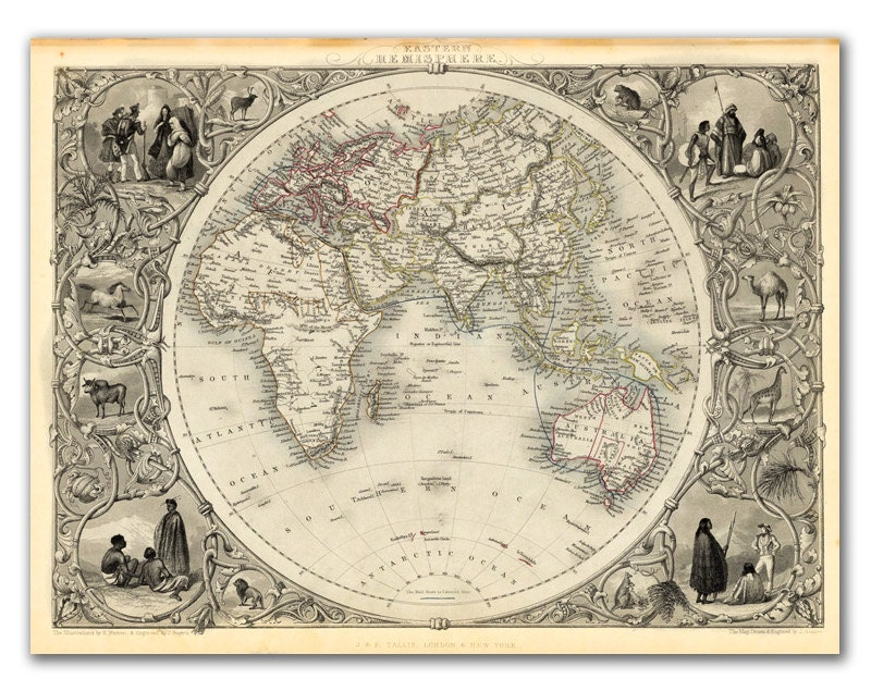 "13x17"" Antique World Map printed on parchment paper, Eastern Hemisphere 1851  , Vintage map, Europe - DejaVuPrintStore"