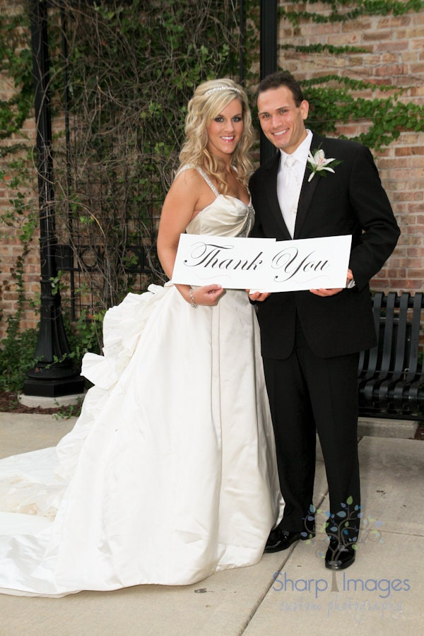 Wedding Photo Prop Thank You Sign with Beautiful Script Font and Custom