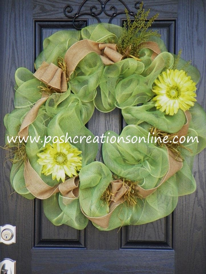 Green Spring Mesh Burlap Wreath Personalized Letter