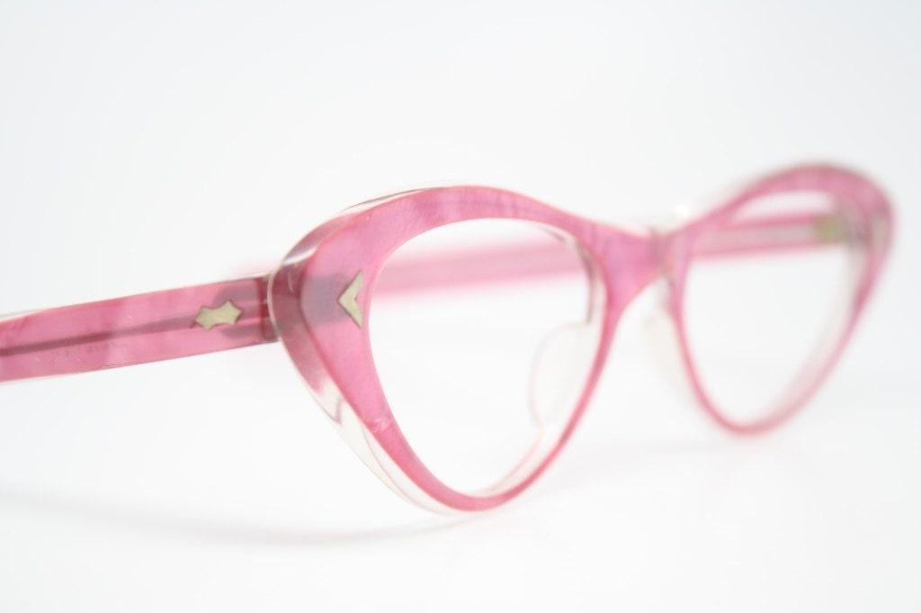 Pink cat eye glasses  vintage cateye eyeglasses frames - VintageOpticalShop