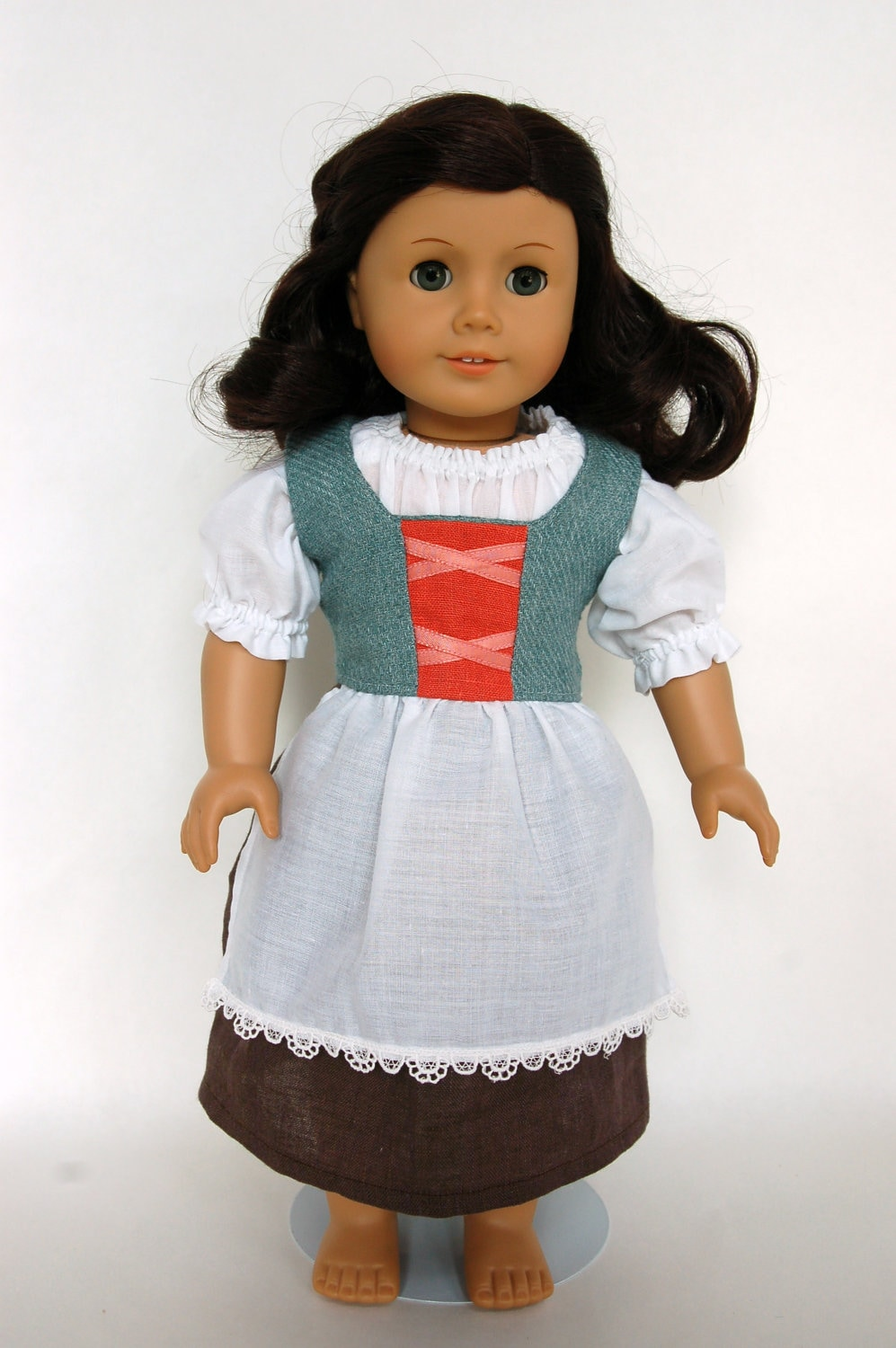 Turquoise Hobbit Medieval Peasant American Girl 18 inch Doll Outfit