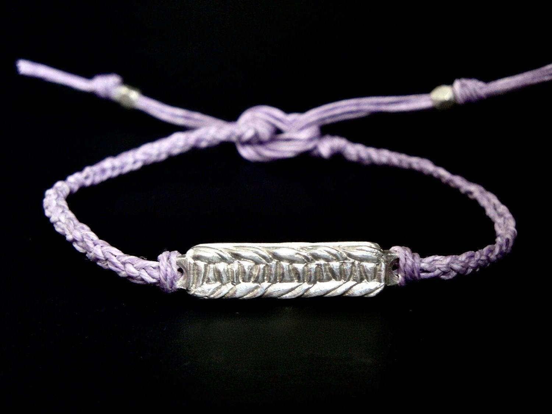 knit. friendship bracelet 02 - purple rhapsody -  lost wax cast sterling silver on waxed linen cord - aimeepawluk