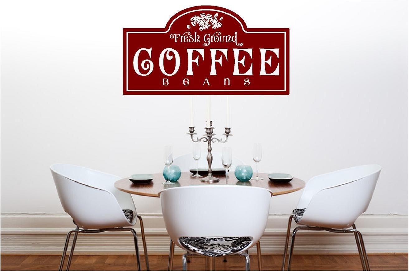 Vinyl Wall Art - Fresh Ground COFFEE Beans - 12 x 22.5