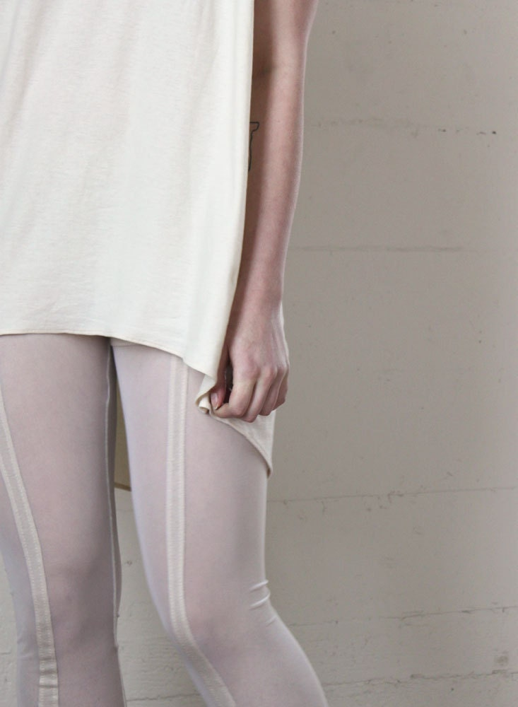 White leggings - sheer mesh with stripes, simple cold clean minimal industrial style fashion  - small - murmuration