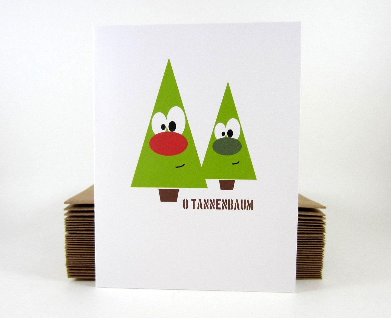Holiday Card, Christmas Card, O Tannenbaum Green Christmas Tree - Single - craftedbylindy