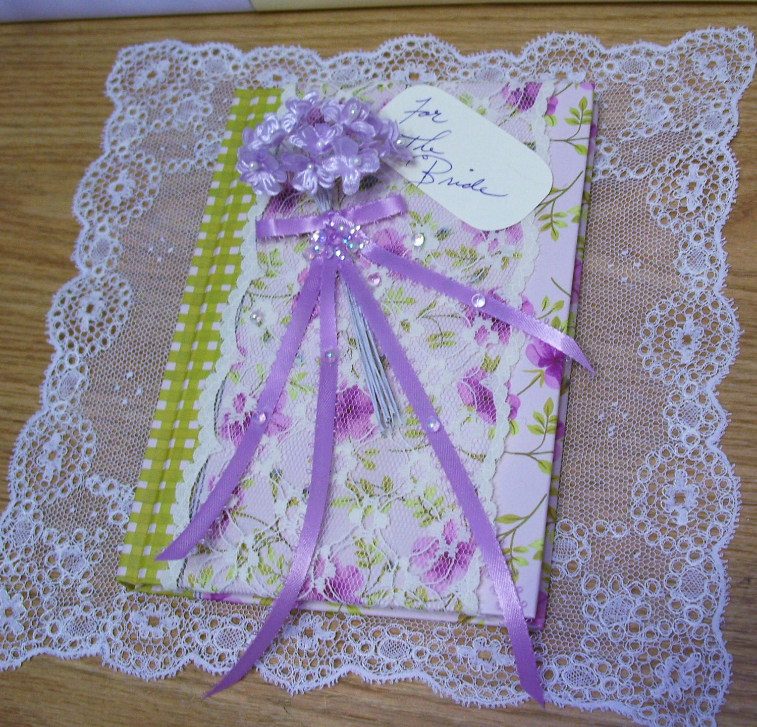 Bride Journal - Blank- Notes of Note- Altered- Lace-  Flowers-  Bubbles-  Ribbon-  Bride Tag- Altered