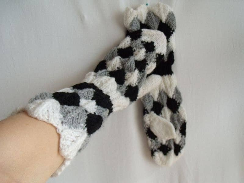 Black white grey Trio one finger gloves OOAK hand knitted - MyLaceSpace