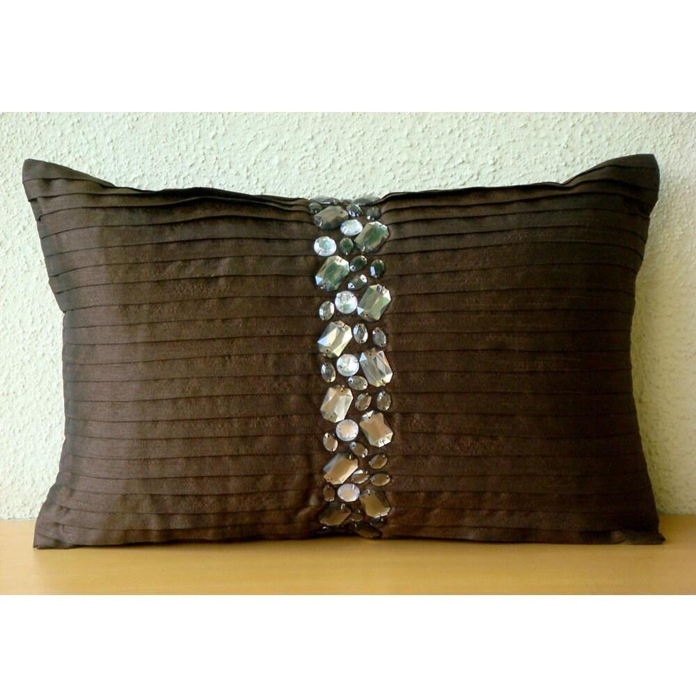 Кристалл Мечты - Продолговатые / Обложки поясничной подушки - 12х18 дюймов Шелковый Dupion с Pintuck и кристаллическая