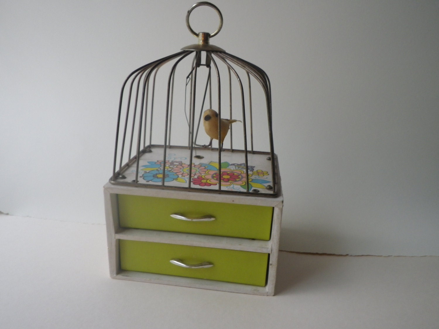 Vintage  Musical Box with Bird Cage- Plays Music while the bird swings - HiddenStarlings