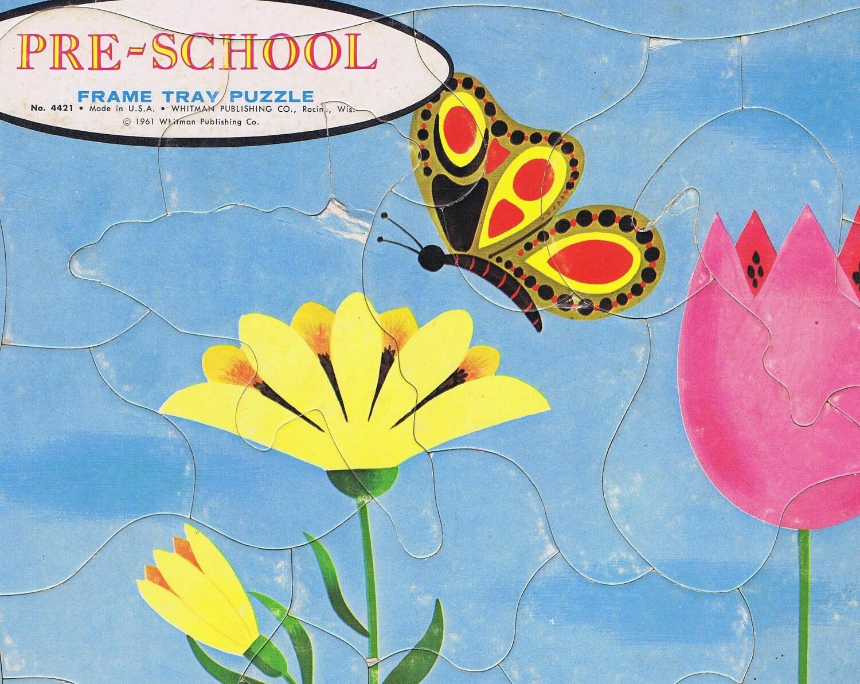 Vintage Puzzle: Butterfly in Flower Garden Preschool Puzzle 1961 - zadoodle