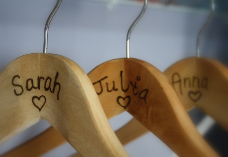 Bridal Party Gifts - Personalized Wooden Hangers - Keepsake - Wedding Favors