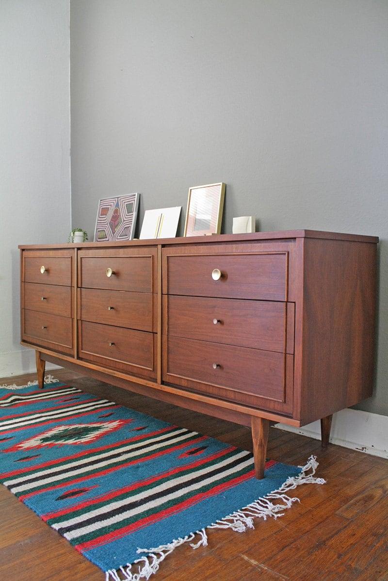 Nine Drawer Mid Century Modern Dresser - HayleonVintage