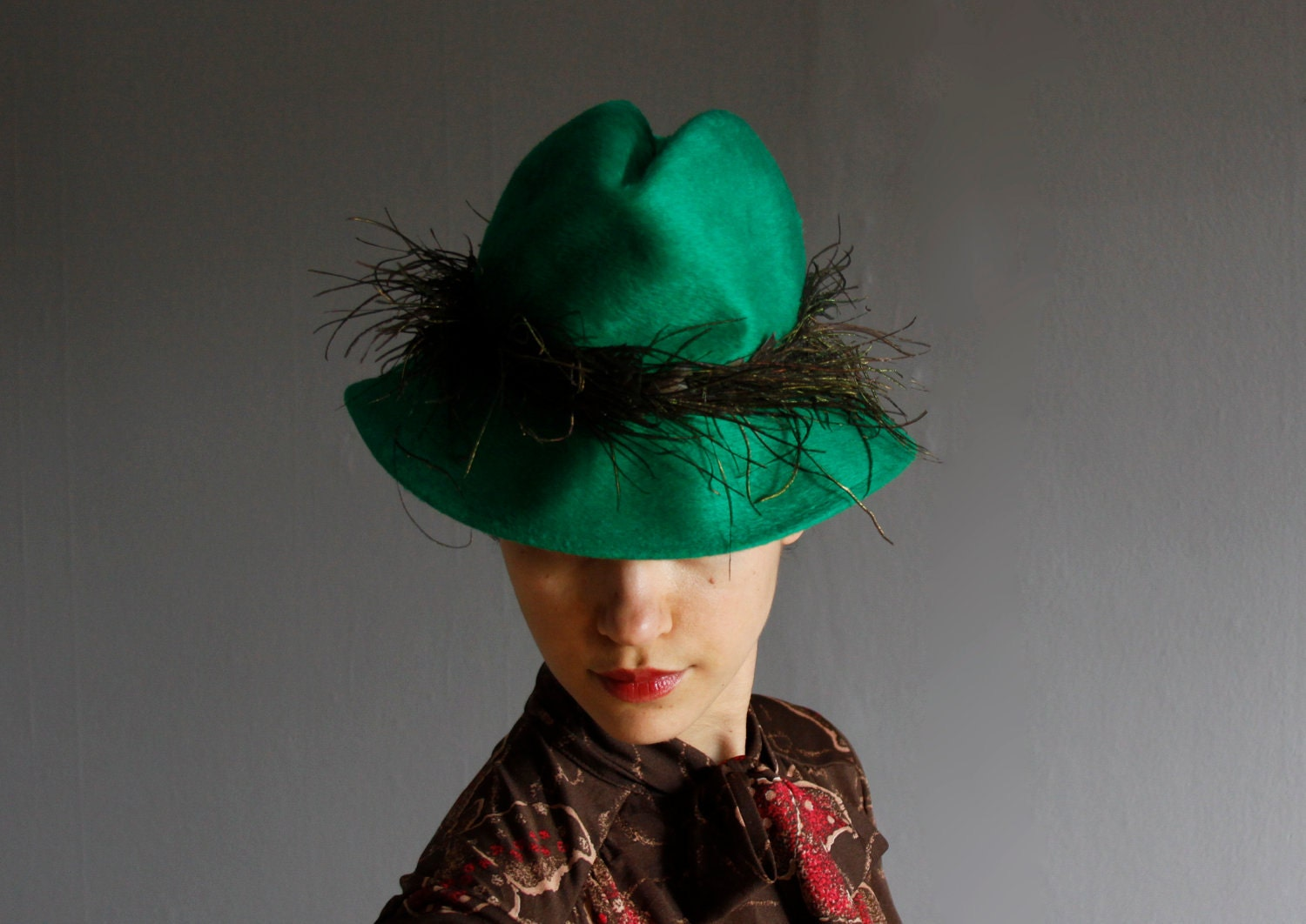 1960's green feather fedora - mydrawingnumberone