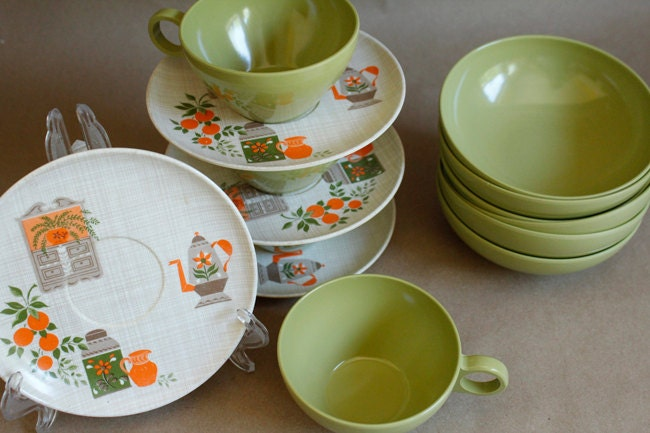 50s 60s Vintage Prolon Melmac Olive Green Coffee Cups Orange Kitchen Dessert Plates Bowls