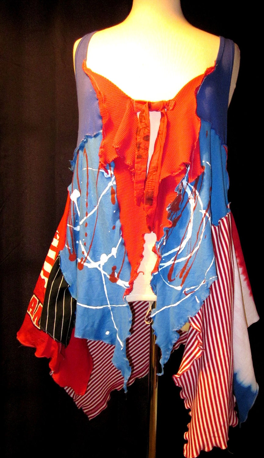 upcycled Americana Red white Blue funky asymmetrical vest Tunic Eco