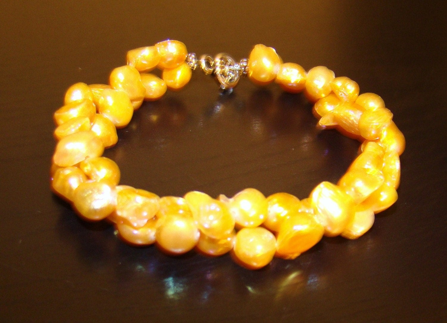 CLEARANCE- Golden Sunny Natural Pearl Rope Bracelet- CLEARANCE