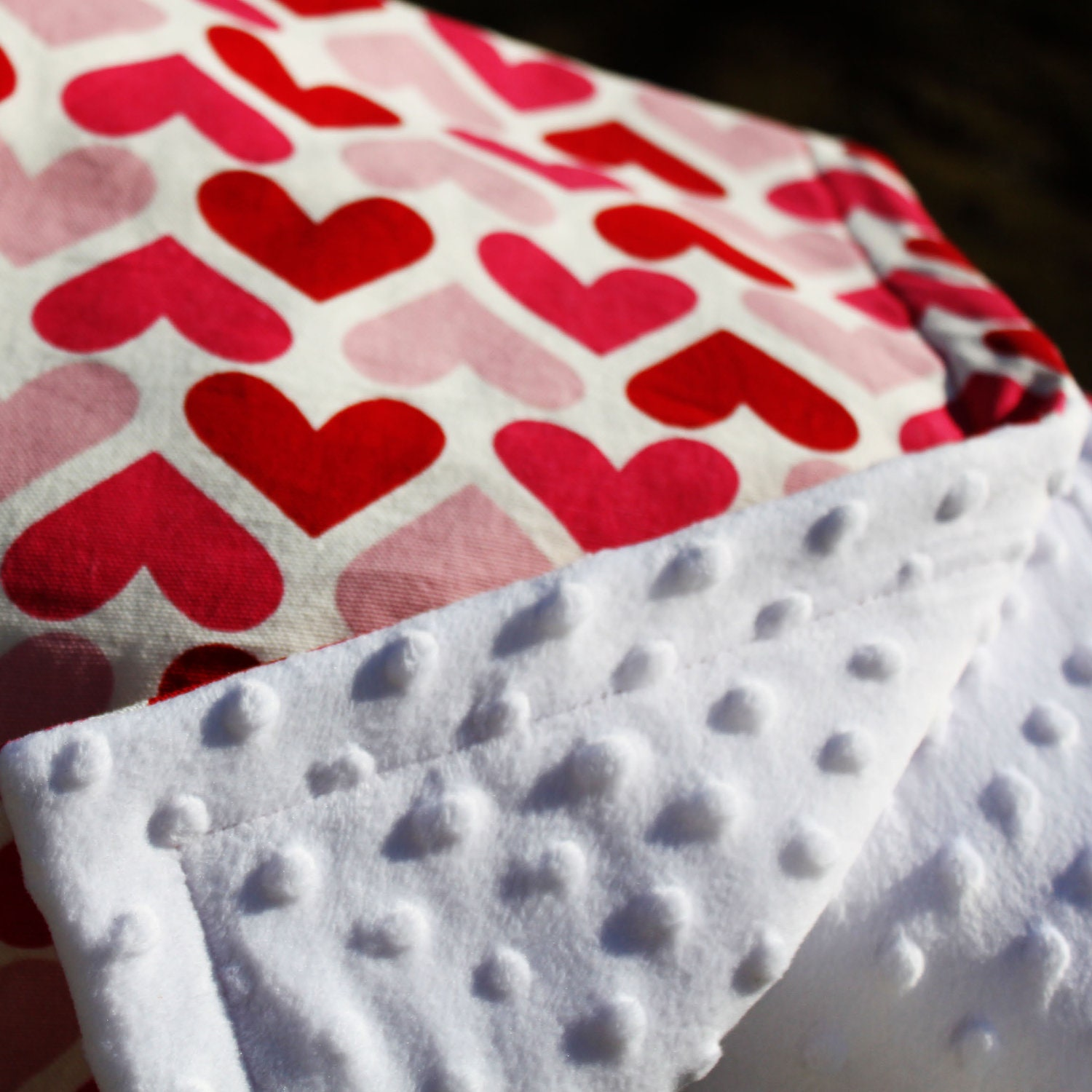 Super warm and cozy heart stroller blanket in Swedish/Scandinavian design by Lingonberry Latitude - Ready to ship