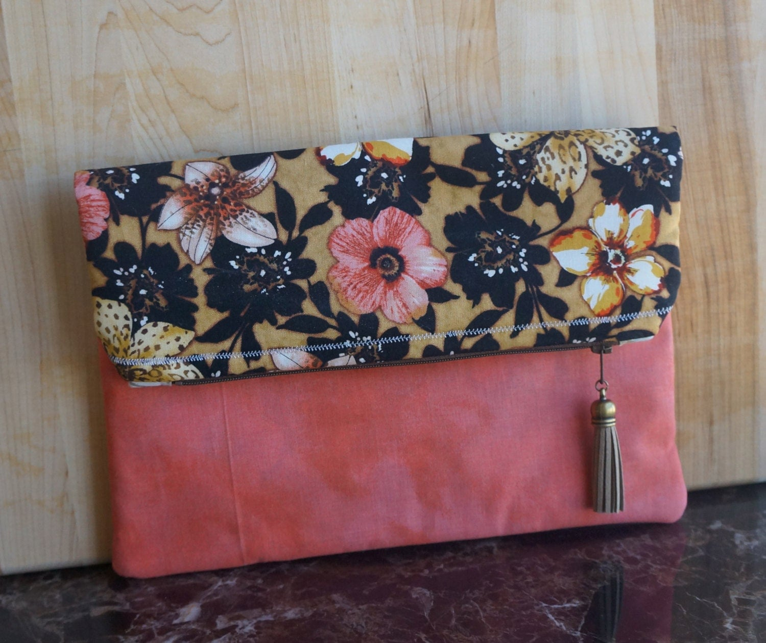 Foldover Clutch, On the Go, Bags,Totes, Floral, Pink, Tan, Brown, Tassel, Spring, Summer