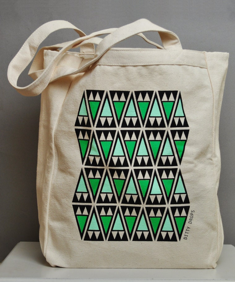 Fern Green Arrowheads - Screen Printed Large Canvas Tote Bag
