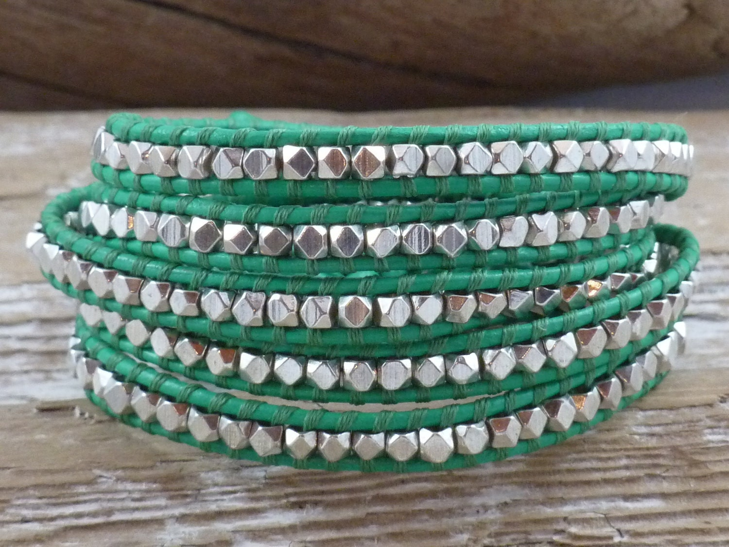 Beaded Leather Five Wrap Bracelet, Kelly Green and Silver Nuggets