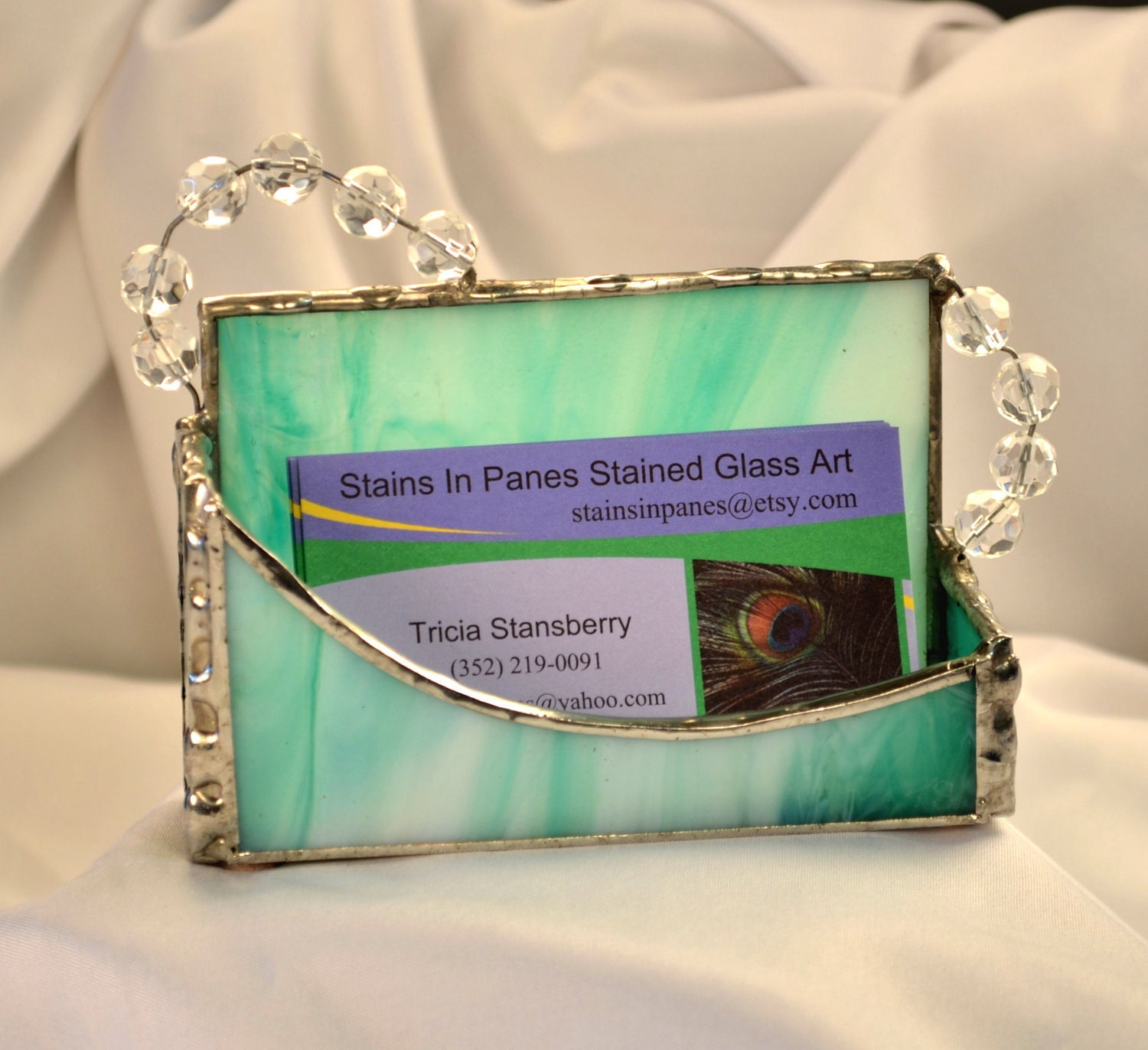 Teal Stained Glass Business Card Holder with Clear Beveled Beads