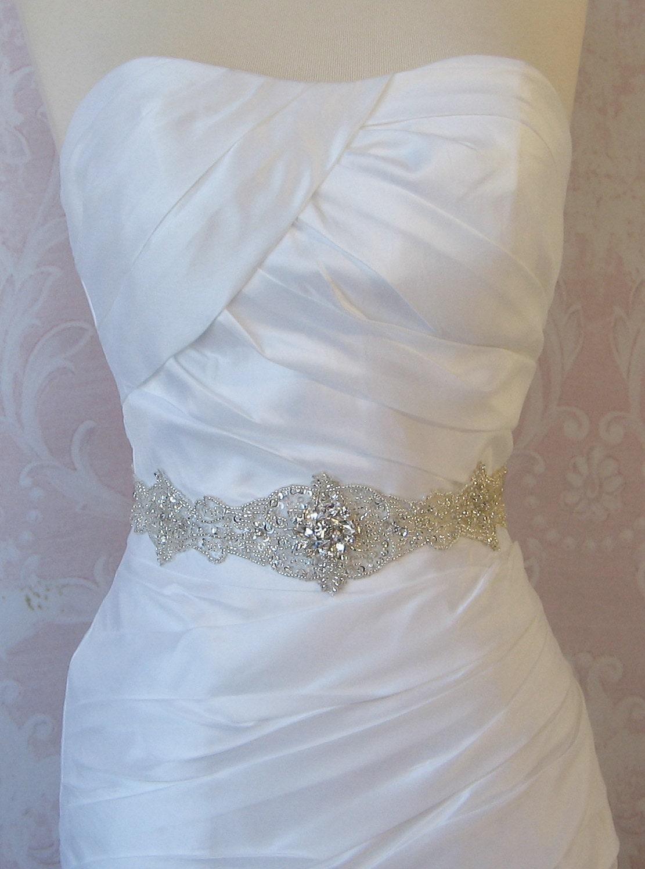 Crystal Rhinestone Sash, Bridal Sash, Beaded Wedding Belt - JOCELYN