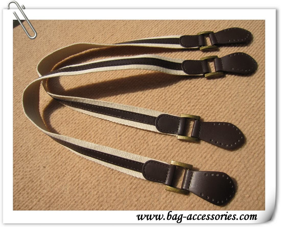 24 1/2 inches PU leather and cotton tapes handles, antique brass hardware
