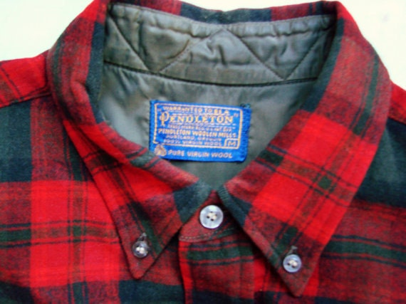 vintage 1950s Pendleton Red Plaid Wool Oxford Shirt size Medium