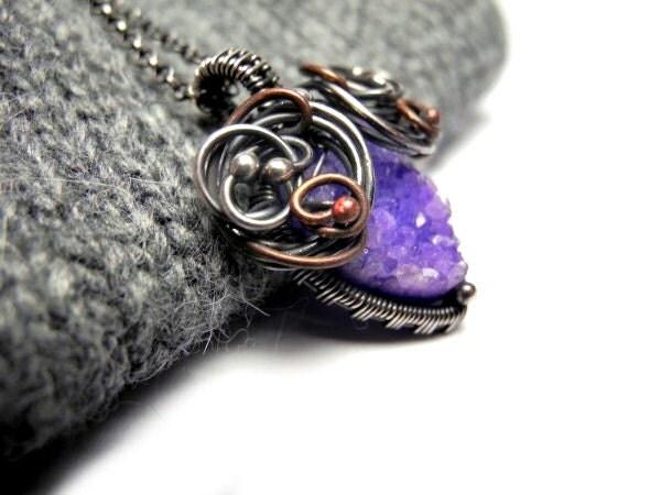 Wire wrapped silver copper necklace, raw Quartz druzy, amethyst lilac pastel purple, feminine, luxury, romantic braidsmaid - NurrgulaJewellery