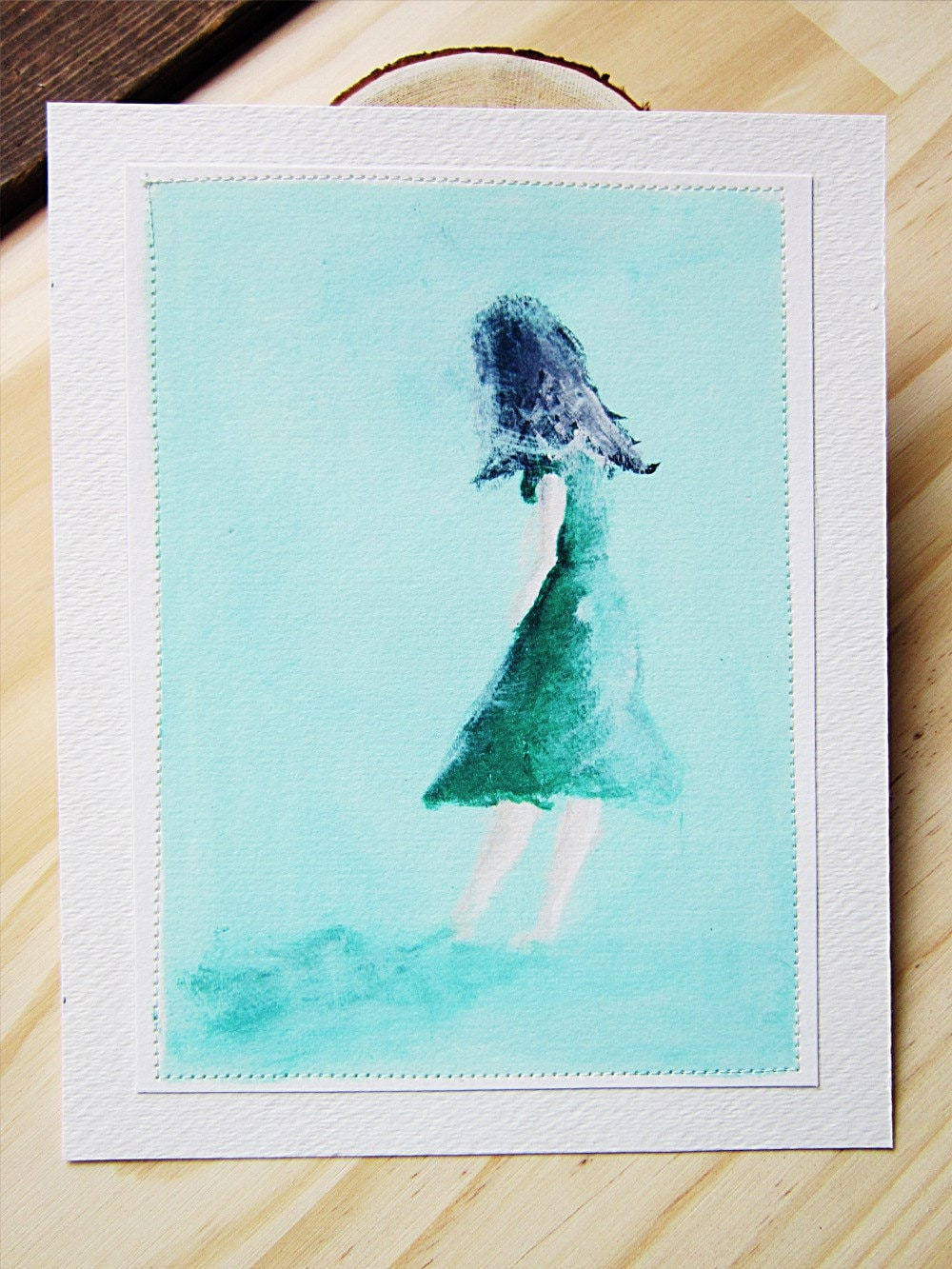 Sewn Art Print - Fall Behind, Original Painting, Pastel colors, Mint Green, Green Dress, Lady in Green - thelittlehappygoose
