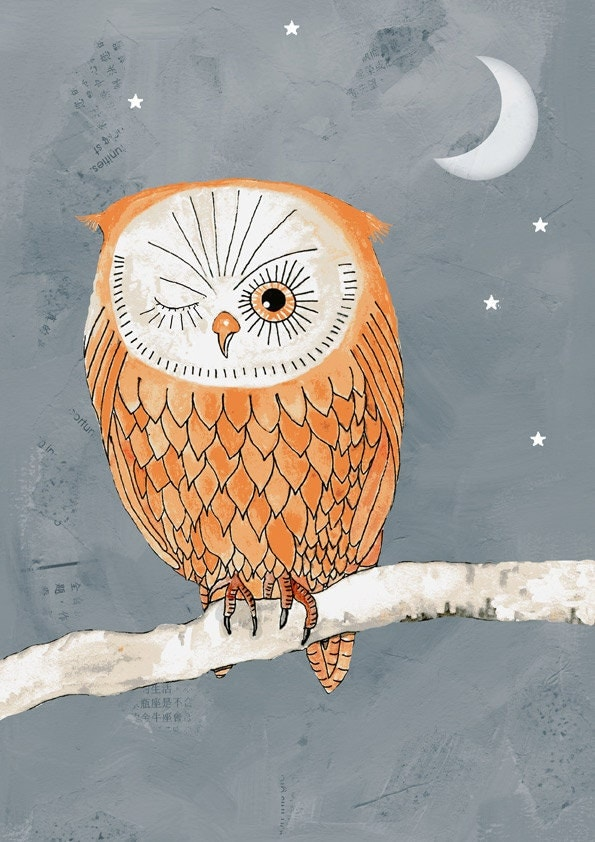 owl print illustration -Winking Owl by the light  of the moon,