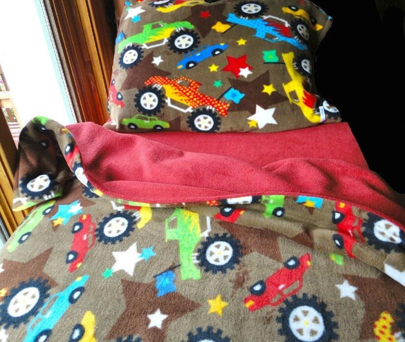 Childrens Toddler Bedding Set  'Red Monster Trucks' for Boys Handmade Fleece Sheets Fits Crib and Toddler Beds