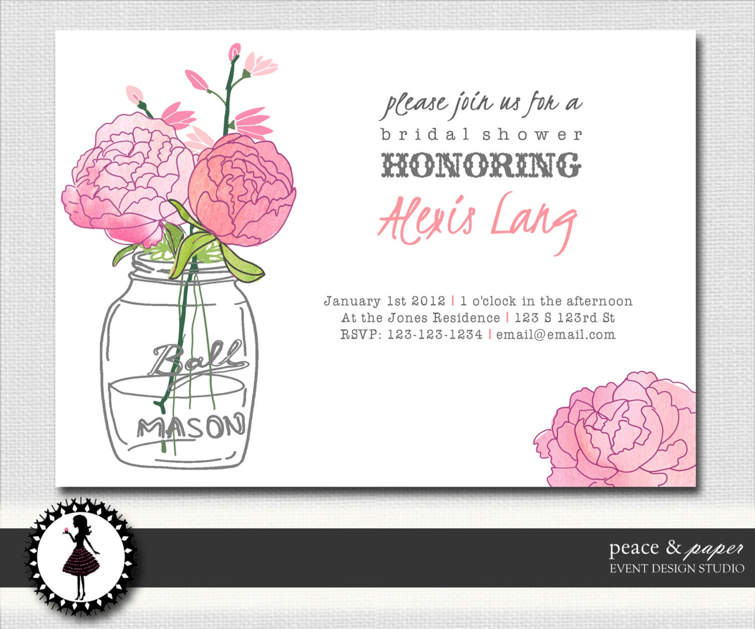 Bridal Shower Invitations - Invites - Mason Jar - Rustic - Flowers ...