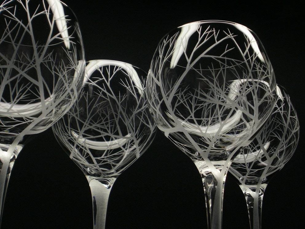 2 Red Wine Glasses Hand Engraved Crystal Glass by daydreemdesigns
