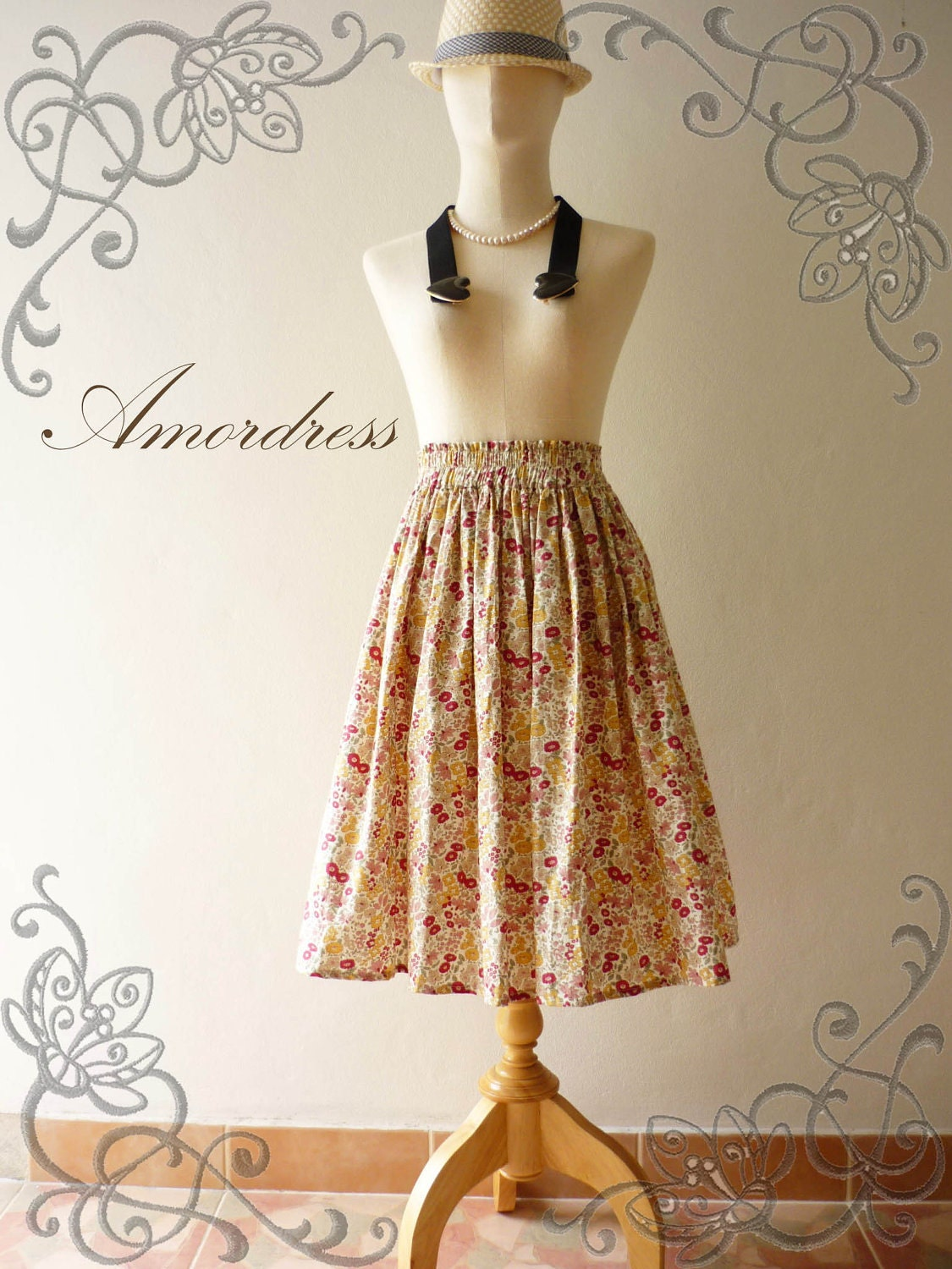 NEW for This wonderful Summer--Im a Princess SKIRT- Floral Wonderland- Vintage Style Handmade Cotton Skirt Mix and Match (Longer Length) - Amordress